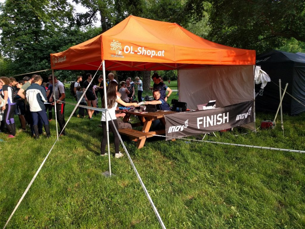 The start/finish booth of the orienteering event.