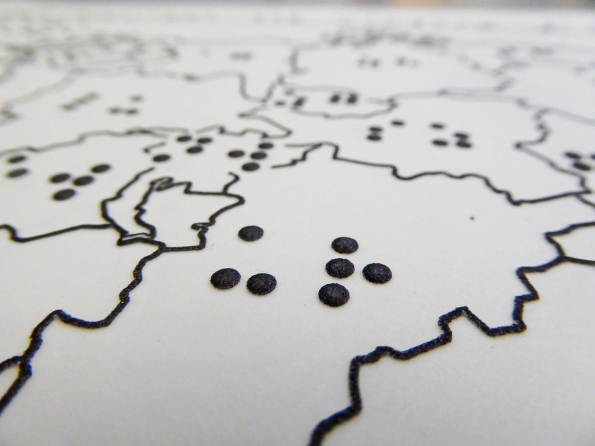 Ausschnitt des taktilen Atlas der Schweiz. Photo: Anna Vetter, Esri Schweiz