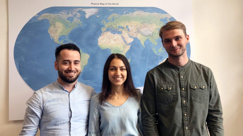 The three TUM alumni Armand Kapaj, Maria Turchenko and Roar Engell