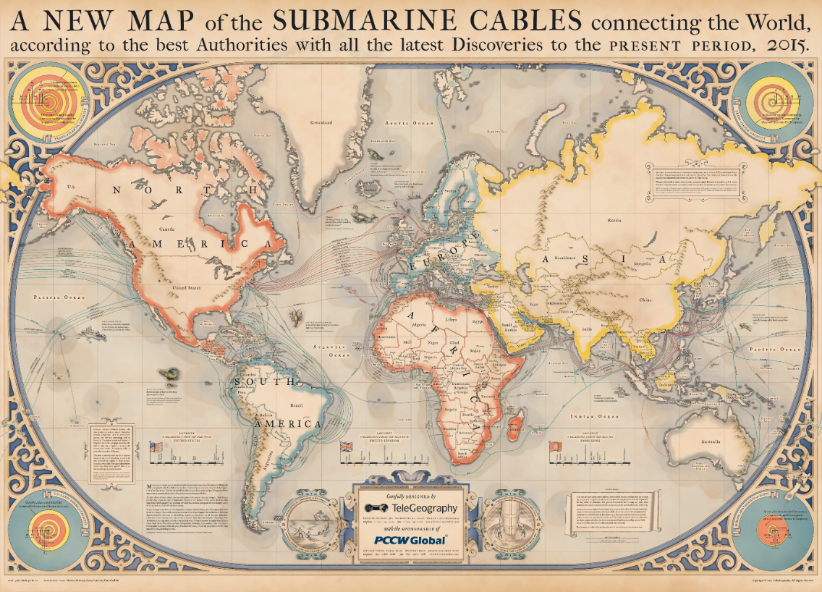 Map designed by TeleGeography: Submarine Cables connecting the world
