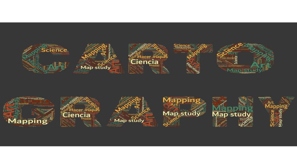 Cartography letter in wordclouds